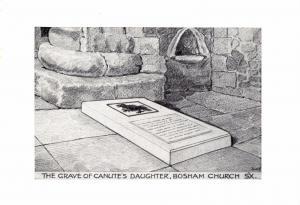 Postcard Art Sketch The Grave of Canute's Daughter, Bosham Church, Sussex #B
