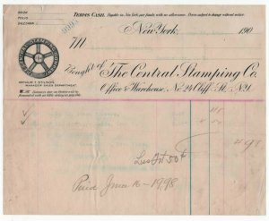 1902 Billhead,  THE CENTRAL STAMPING CO., New York, NY