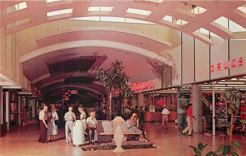 Phoenix Arizona~West Mall~Chris Town~Walgreens~Older Couples 1950s Postcard