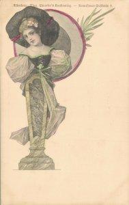 Art Nouveau Lady Litho Postcard 04.81