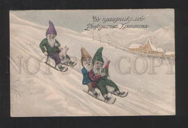 077336 Funny Elf GNOME on Winter SLEDS & PIG vintage RUSSIA PC