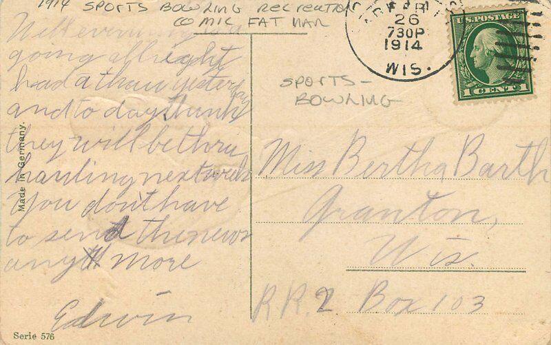 Artist impression Bowling Sports Comic Fat Man 1914 Postcard 118