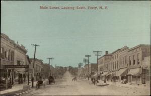 Perry NY Main Street c1910 Postcard