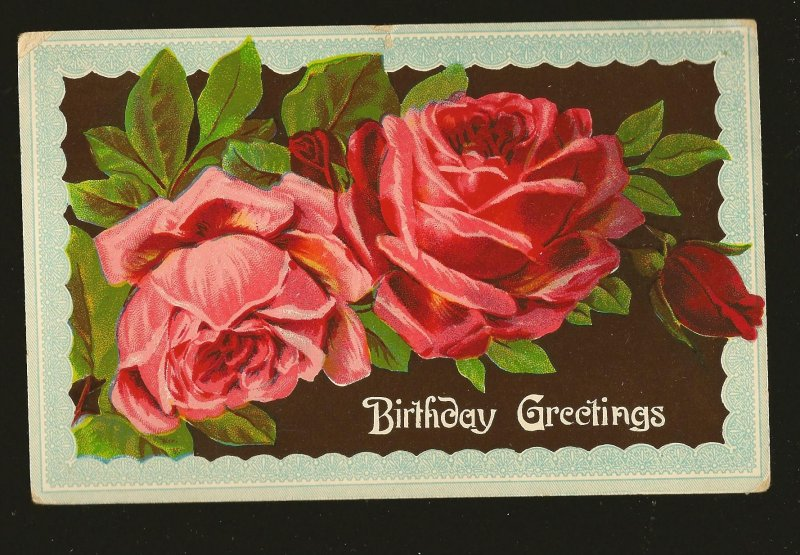 Postmarked 1910 Birthday Greetings Color Roses Postcard Printed in Germany