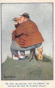 F92/ Artist Signed Postcard c1910 Donald McGill Comic Fat Man Dog 18