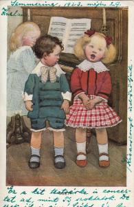 Children couple piano music duo duet 1923 comic postcard