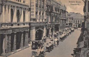 Singapore Malaya Battery Road Street Scene Vintage Postcard JI658447