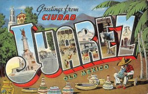 JUAREZ Large Letter Linen Old Mexico Greetings Vintage Postcard ca 1940s