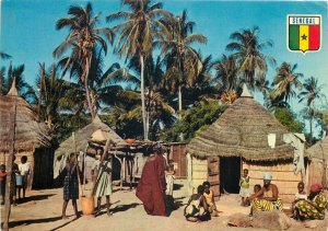 Africa Senegal ethnic natives straw huts