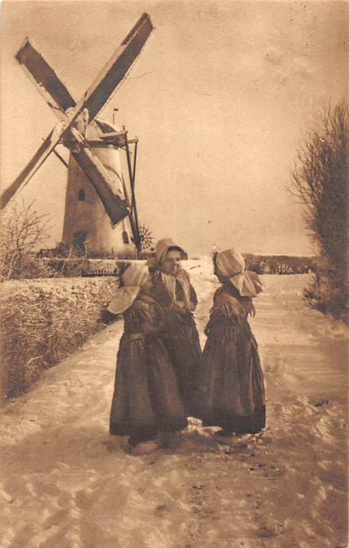 Netherlands Holland Zeeland Winter Scene Women Traditional Costume Windmill 1911