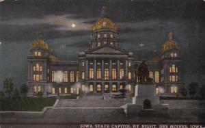 Iowa Des Moines Iowa State Capitol Building At Night 1912 Curteich