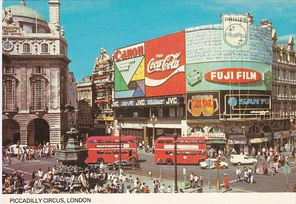 Buses On Piccadilly Circus Coca Cola Sign London England