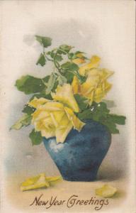 100% silk : Yellow Rose flowers , New Year Greeting , 00-10s
