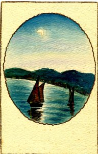 Sailboats - Beautiful, One-of-a-Kind, Hand-painted Postcard
