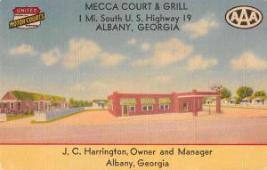 Albany Georgia Mecca Court and Grill Antique Postcard J59463