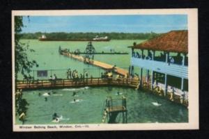ON Bathing Beach WINDSOR ONTARIO CANADA Postcard PC