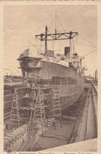 ANVERS, Belgium, 1910-1920s; Ship in Drydock , Drooge Dok