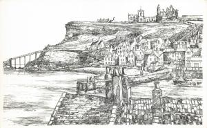 Art Postcard, Whitby Rooftops, North Yorkshire by John Freeman 54Q