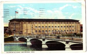 1909 DES MOINES Iowa Ia Postcard COLISEUM Trolley