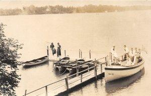 G24/ Pine Lake Michigan RPPC Postcard 1918 Holiday House Boat Dock