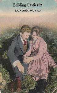 Couple holding hands sitting on a grassy meadow, Building Castles in London, ...