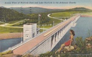 Arkansas Ozarks Scenic View Of Norfork Dam & Lake Norfork 1950 sk6569