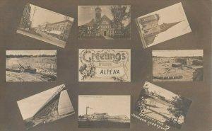RP: ALPENA , Michigan , 1910 ; 8 View ,Quarry ,Main St ,Factory ,Steam Shovel