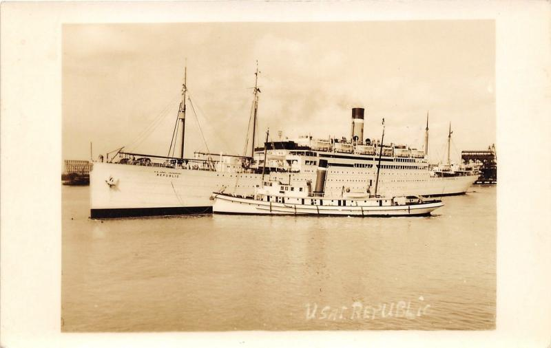 US Army Transport Ship Republic (AP-33)~Smaller Steamer in Front~c1930 RPPC