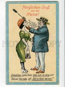 270600 ART NOUVEAU Greeting GRUSS from FAIR Leipzig COMIC old