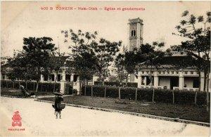 CPA AK INDOCHINA Tonkin Eglise et Gendarmerie VIETNAM (956560)