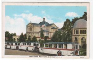Bus Line Up Franciscan Monastery Washington DC 1920s postcard