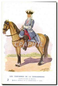 Old Postcard The uniforms of the gendarmerie MArechausee Prevot General of Co...