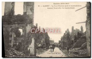 Old Postcard Albert La Rue d & # 39Amiens After Bombing Army