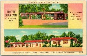 Elm Creek, Nebraska Postcard RED TOP CABIN CAMP Highway 30 Roadside Linen c1940s