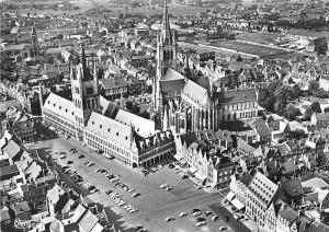 Belgium Ypres Ieper, Vue aerienne Cathedrale Voitures Cars Air view Panorama