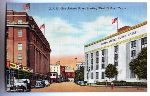 P1258 vintage unused postcard san antonio st. el paso texas old cars street view