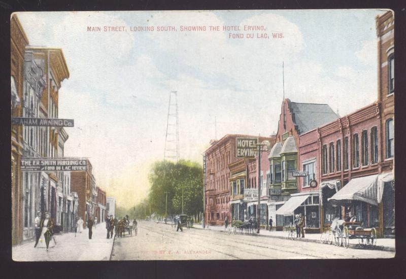 FOND DU LAC WISCONSIN DOWNTOWN MAIN STREET SCENE ANTIQUE VINTAGE POSTCARD