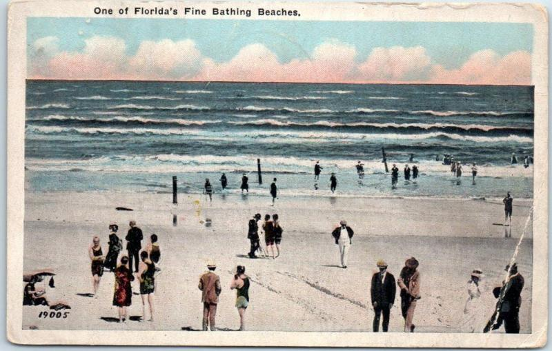Vintage Florida Postcard One of Florida's Fine Bathing Beaches 1925 RPO Cancel