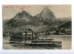 190436 SWITZERLAND BRUNNEN ship STADT LUZERN Vintage postcard