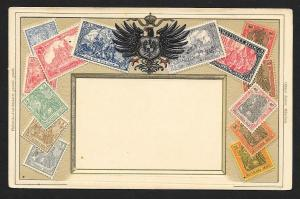 GERMANY Stamps on Postcard Embossed Shield Unused c1905