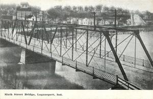 Logansport Indiana~Sixth Street Bridge~Homes Behind~1910 Postcard