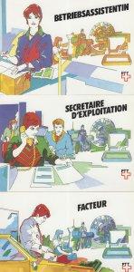 Secretary Office Exploitation Strange French Telegram 3x Postcard s