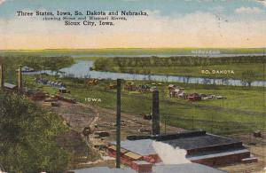 Three States,  Sioux And Missouri Rivers, SIOUX CITY, Iowa, PU-1916