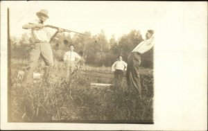 Men Being Silly Hold-UP Hands Up Shotgun Gun c1910 Real Photo Postcard