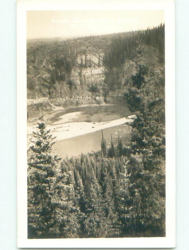 Pre-1949 rppc SCENERY ALONG ALASKA HIGHWAY Province Of British Columbia BC W1064
