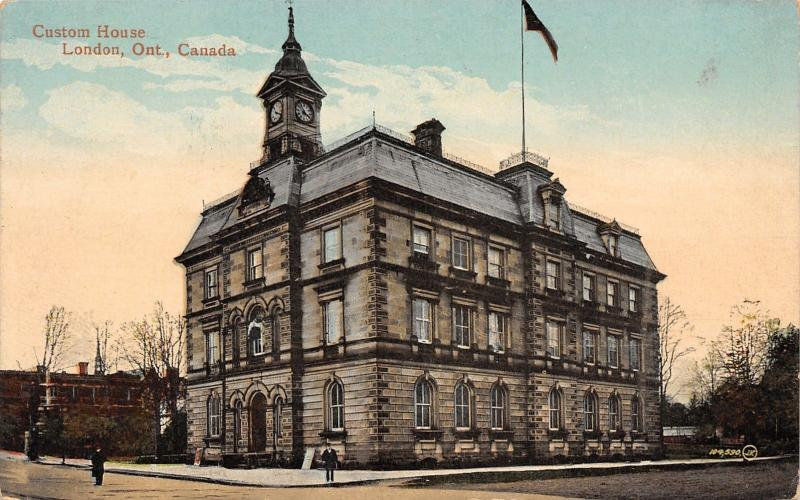 London Ontario~Closeup of Custom House~It's 3:55 in the Afternoon! c1910