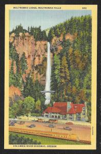 Distance View Multnomah Lodge & Falls Columbia River Highway Oregon Unused c1937