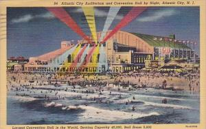 New Jersey Atlantic City Auditorium And Convention Hall By Night 1948