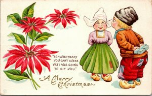 A Merry Christmas -  German Dutch CHILDREN - VINTAGE - POSTCARD PC POSTED