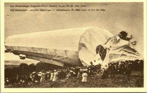 RARE -VINTAGE POSTCARD -  1909 Zeppelin airship crash near Goppingen, Germany